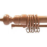 Карниз трубчатый Дуб 2,40 метра одинарный, металлопластиковый, для штор, с кронштейнами, кольцами и крючками