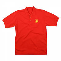 Футболка Rothco Marines Golf Shirt With Gold Embroidery Red