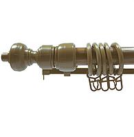 Карниз трубчатый Дуб Золотой 3,00 метра одинарный, металлопластиковый, для штор, с кронштейнами, крючками