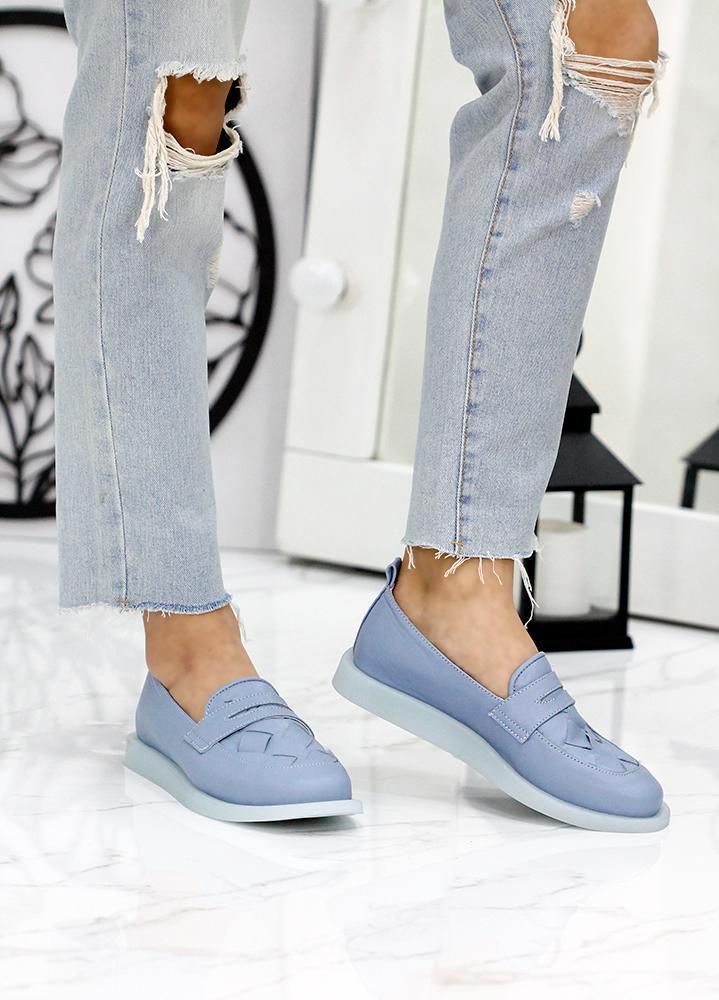 Туфли лоферы светло-синий кожа Twist 7814-28 Размеры 36-41