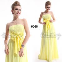 Вечернее платье с бантом , св.желтое. L
