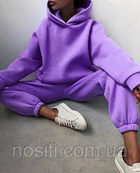 Батальний жіночий теплий спортивний костюм на флісі оверсайз розмір 48-52