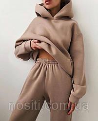 Жіночий теплий спортивний костюм на флісі оверсайз осінь-зима