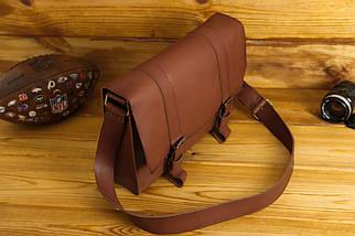 Шкіряна чоловіча сумка Кемерон, натуральна шкіра італійський Краст колір Коричневий, фото 3