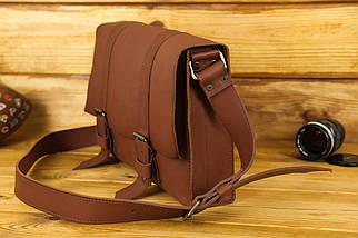 Шкіряна чоловіча сумка Кемерон, натуральна шкіра італійський Краст колір Коричневий, фото 2