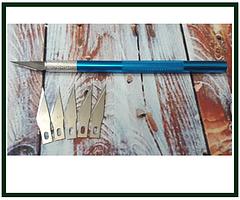 Скальпель с ручкой Chipik c набором 11-тых лезвий, 5 шт, синий