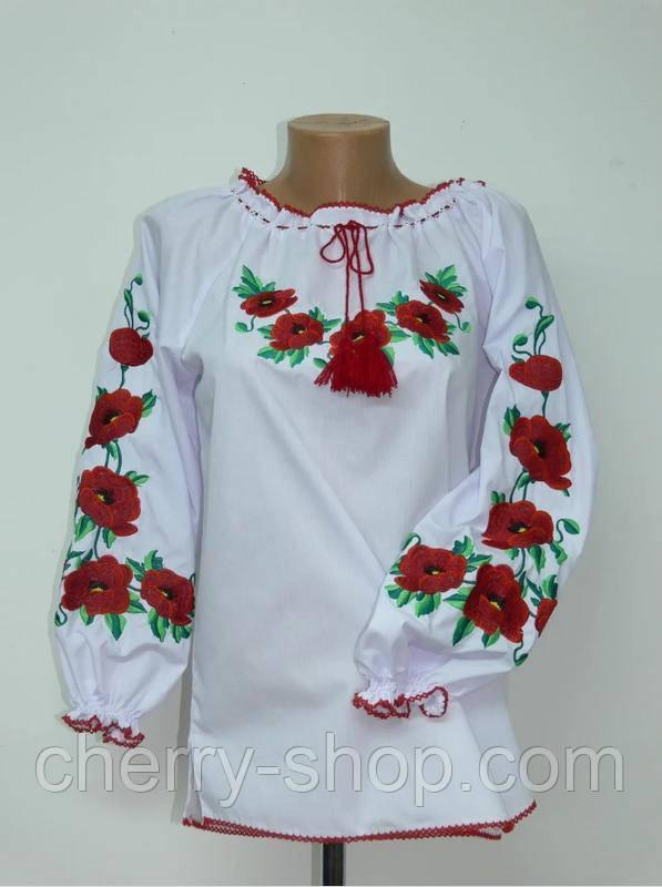 Дуже гарна вишиванка дитяча блуза з Маками , зростання 134-170, дитяча вишиванка з Маками