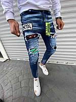Мужские синие зауженные джинсы с нашивками и принтом, Турция