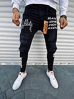 Мужские черные зауженные джинсы с надписями, Турция
