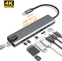 Концентратор Creatck UK-USB C Hub01 8in1 (HDMI, SD/TF, RJ45, 2xUSB3.0, 2x USB C)