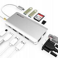 Концентратор LETSCOM C008 USB-C 11in1 (HDMI, VGA, RJ45, 2xUSB3.0, 2xUSB2.0, SD, microSD, USB-C PD)