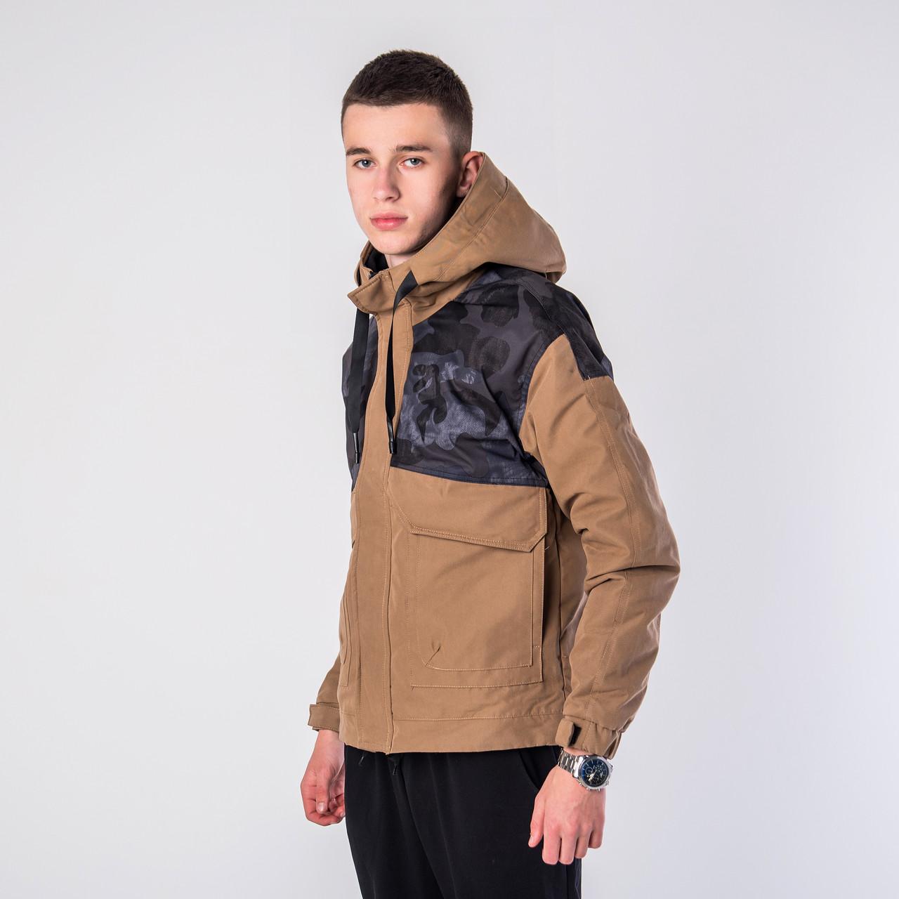 Мужская демисезонная куртка, коричневого цвета