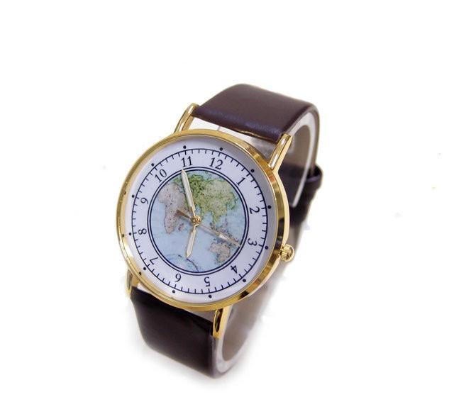 Кварцевые наручные часы Geography Brown