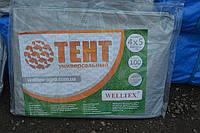 Тент тарпаулин(плотность 100г/м2) 4х5 с металлическими люверсами (серый) защита от солнца, ветра и дождя, фото 1