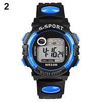 Спортивные электронные наручные часы с секундомером, будильником и подсветкой S-Sport Blue (∅40 мм)
