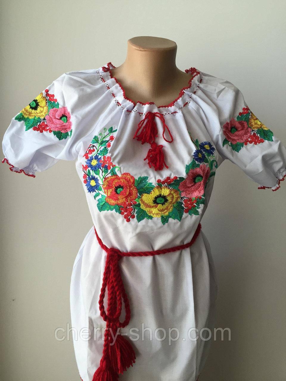 """Красива вишиванка для дівчинки з коротким рукавом """"Мальва"""""""