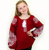 Бордова вишита блуза для дівчинки з льону , зростання 122-152