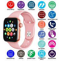 Стильные Умные смарт часы Т500+ копия Apple watch 6/44мм Т500+ Plus / Умные часы Т500+ Plus Розовые