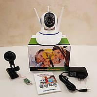 Камера видеонаблюдения поворотная Wi-Fi IP 360° на 3 антенны с микрофоном / Ночная съёмка / Датчик движения