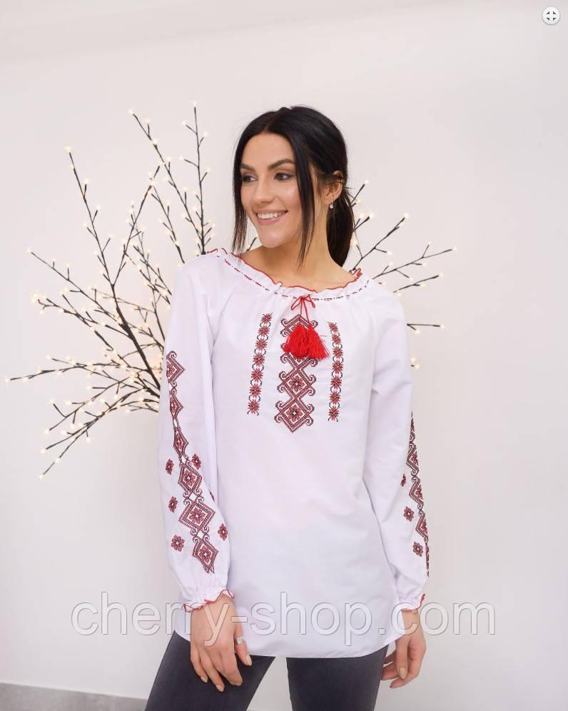 Стильна біла вишита блуза для дівчинки , ріст 140-170