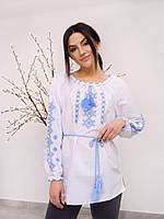 Біла вишита блуза для дівчинки з блакитною вишивкою , зростання 140-170