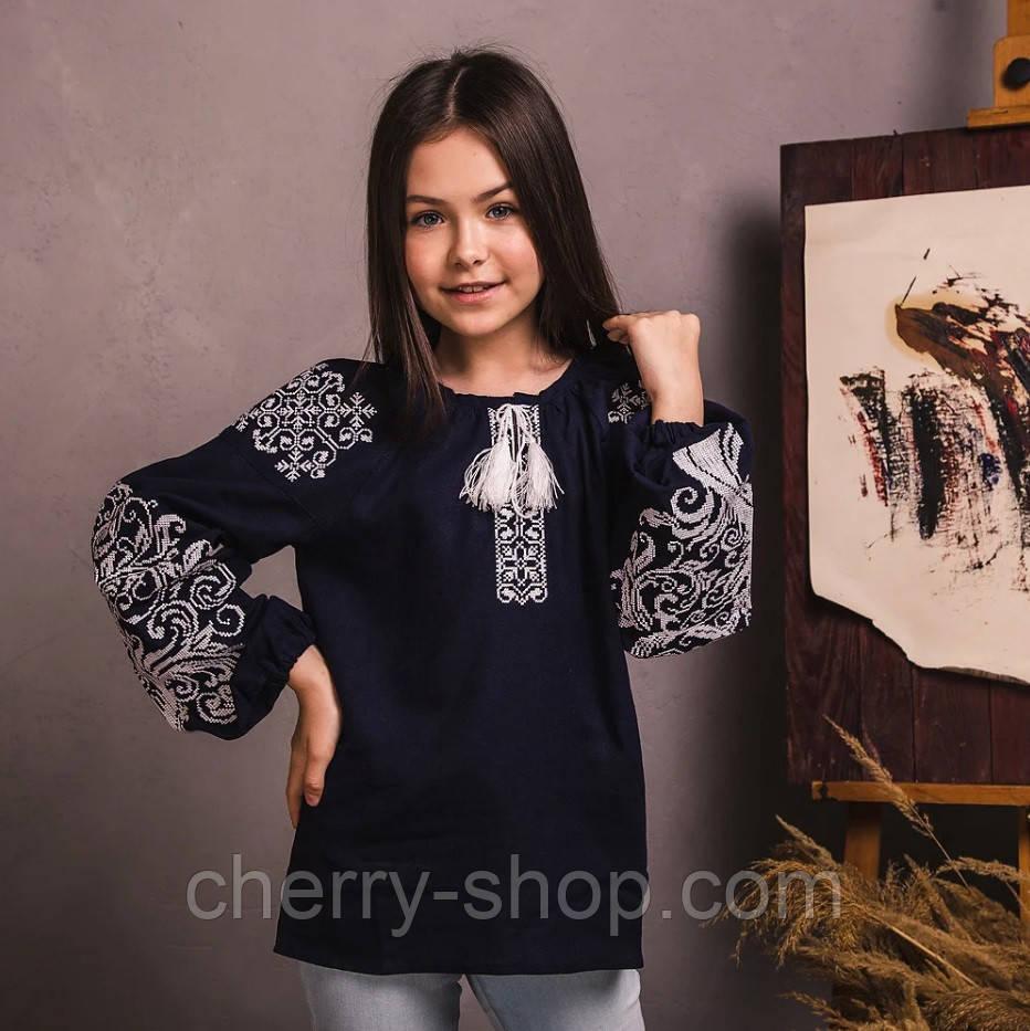 Темно синняя вышитая блуза для девочки из льна  , рост 122-152