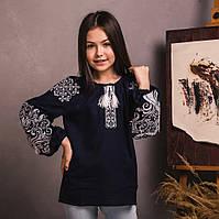 Темно синя вишита блуза для дівчинки з льону , зростання 122-152