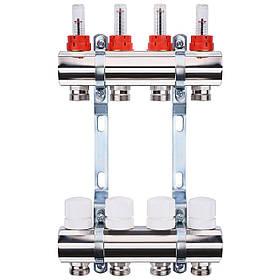 """Колектор з витратомірами, регуляторами і кріпленням ECO 001A 1""""x4"""