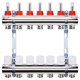 """Колектор з витратомірами, регуляторами і кріпленням ECO 001A 1""""x7"""