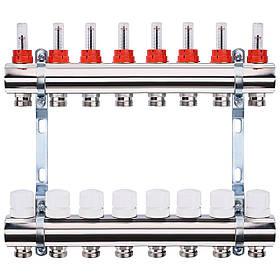 """Колектор з витратомірами, регуляторами і кріпленням ECO 001A 1""""x8"""