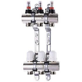 """Колектор з витратомірами, регуляторами і кріпленням ECO 001D 1""""x3"""