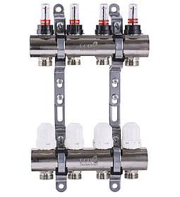 """Колектор з витратомірами, регуляторами і кріпленням ECO 001D 1""""x4"""