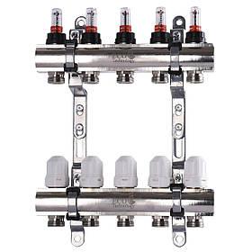 """Колектор з витратомірами, регуляторами і кріпленням ECO 001D 1""""x5"""