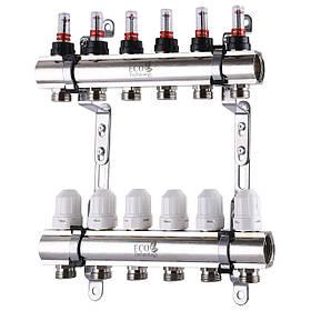"""Колектор з витратомірами, регуляторами і кріпленням ECO 001D 1""""x6"""