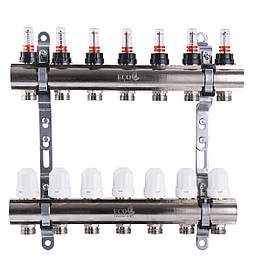 """Колектор з витратомірами, регуляторами і кріпленням ECO 001D 1""""x7"""