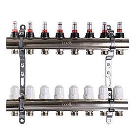"""Колектор з витратомірами, регуляторами і кріпленням ECO 001D 1""""x8"""