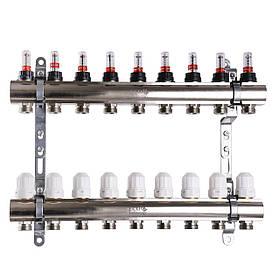 """Колектор з витратомірами, регуляторами і кріпленням ECO 001D 1""""x9"""