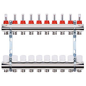 """Колектор з витратомірами, регуляторами і кріпленням ECO 001A 1""""x10"""