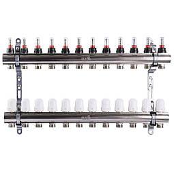 """Колектор з витратомірами, регуляторами і кріпленням ECO 001D 1""""x12"""