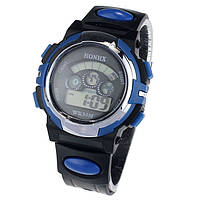 Спортивные часы с секундомером, будильником и неоновой подсветкой (∅40 мм) Honhx-Sport blue