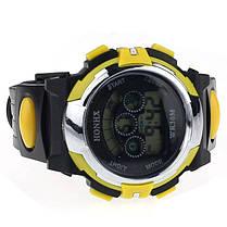 Спортивні годинник з секундоміром, будильником і неоновим підсвічуванням (∅40 мм) Honhx-Sport yellow, фото 3