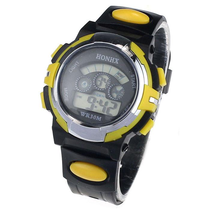 Спортивні годинник з секундоміром, будильником і неоновим підсвічуванням (∅40 мм) Honhx-Sport yellow