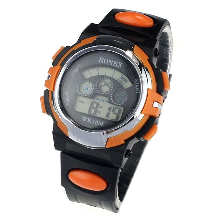 Спортивные часы с секундомером, будильником и неоновой подсветкой (∅40 мм) Honhx-Sport orange