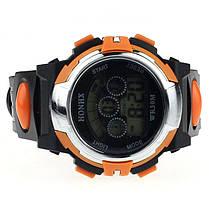 Спортивні годинник з секундоміром, будильником і неоновим підсвічуванням (∅40 мм) Honhx-orange Sport, фото 3