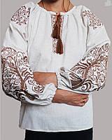 Дитяча вишита блуза на сірому льоні зі світло-коричневою вишивкою
