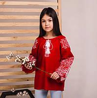 Детская вышитая блуза на красном льне с белой вышивкой, фото 1
