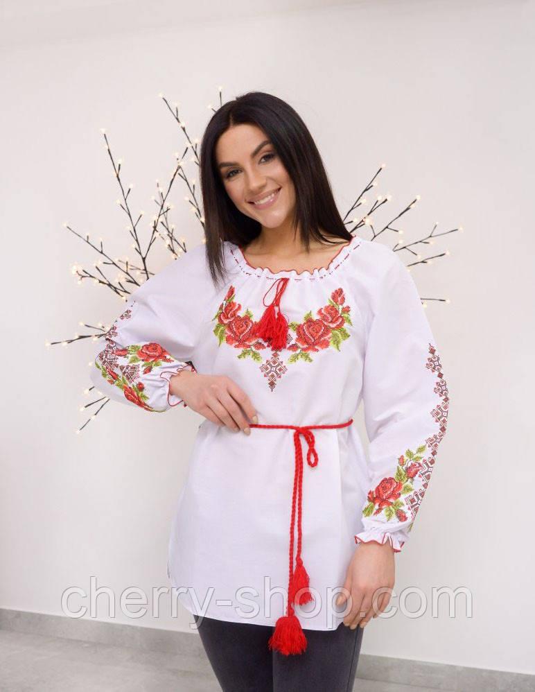 Красивая подростковая вышитая блуза, вишиванка для дівчинки 10-15 років
