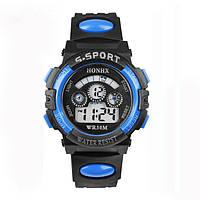 Часы электронные детские с секундомером, будильником и неоновой подсветкой Sport Blue (∅35 мм)