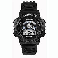 Часы электронные детские с секундомером, будильником и неоновой подсветкой Sport Black (∅35 мм)