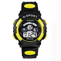 Часы электронные детские с секундомером, будильником и неоновой подсветкой Sport Yellow (∅35 мм)